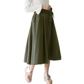 (リアルキューブ) REAL CUBE スカート ウエストリボン付きギャザーボリュームスカート レディース カーキ Freeサイズ