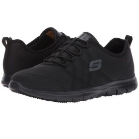 SKECHERS Work(スケッチャーズ) レディース 女性用 シューズ 靴 スニーカー 運動靴 Ghenter - Srelt - Black Jersey Mesh/Trim 6 B - Medium [並行輸入品]
