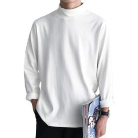 MengFanメンズ Tシャツ パーカー シンプル カットソー メンズ おしゃれ トップス メンズ シャツ 夏 長袖 無地 かっこいい服 TシャツホワイトMF-E