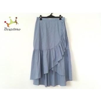 ローズティアラ Rose Tiara ロングスカート サイズ42 L レディース 美品 ライトブルー×白 新着 20190719