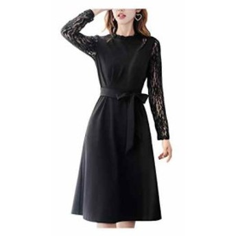 AN19 BK M 黒 ドレス フォーマル ワンピース aライン ドレスワンピース パーティ(ブラック, 02. M)