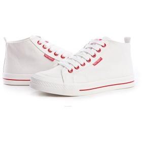[NOMSOCR] ローカットスニーカー レディース キャンバス カジュアル シューズ 靴 おしゃれ スニーカー (24.0cm, 白/赤)