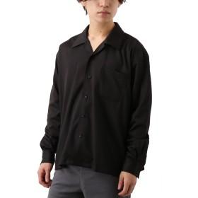 [REPIDO (リピード)] オープンカラー ストレッチ サテン シャツ 開襟シャツ オープンカラーシャツ 長袖 ブラック Lサイズ