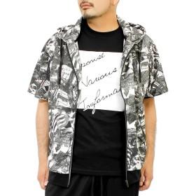 パーカー メンズ 半袖 Tシャツ ジップアップ メッシュ 総柄 フォト プリント 薄手 2点セット アンサンブル M ホワイト