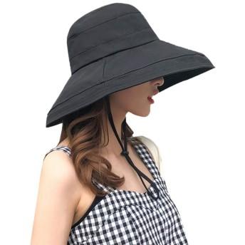 あご紐付き UVカット つば広 帽子 レディース