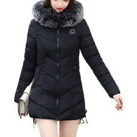 Zhuhaitf 暖かく保つ Womens Collar Down Jacket Slim Hooded Coat Thick Comfortable Cotton with Quality Fashion Style
