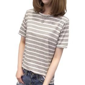 (ニカ)レディース シャツ 夏 半袖tシャツ ストライプ tシャツ アウター コメント トップス ゆったり カットソー ファッション シンプル 着やせ スリム 心地よい 7色4サイズグレーT1
