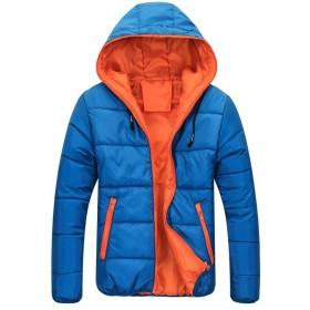 Dalyvia(ダリビア)メンズダウンジャケット超薄型フード付き暖かく防風通勤カジュアルな登山高品質の春秋と冬のモデル (XXL, ブルー)