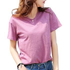 レディース Tシャツ コットン 半袖 ゆったり 100%綿 シンプル トップス インナー 全5色 大きいサイズ