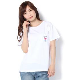 Daily russet(デイリーラシット)/フラミンゴ刺繍ポケTシャツ