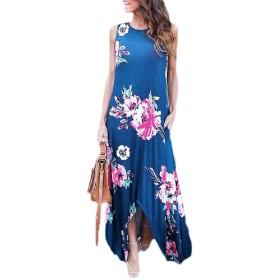 Qiangjinjiu Women Long Pockets Sundress Hawaiian Floral Maxi Dress Sleeveless Dress Blue S