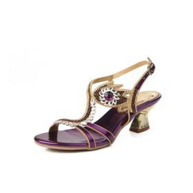 レディースシューズPU夏のファッションブーツChunky HeelサンダルオープントゥのラインストーンクリスタルSparkling Glitter Buckle Dress Party& (Color : C, サイズ : 43)