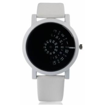 ラウンドダイヤル スタイリッシュ レザーストラップ 現代 クォーツ ファッション ターンテーブル腕時計 トレンディ 3