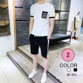 スウェット メンズ ジャージ 上下セット セットアップ 半袖 2点セット ルームウェア 薄手 Tシャツ パンツ  ファッション カジュアル
