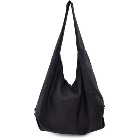 LONGOU シンプルで大容量のカジュアルなショルダーバッグビッグバッグ 手作りの綿とリネンキャンバスバッグ レディース キャンバス ファスナー付き a4 バッグ 肩掛け トートバック 軽量 かばん 大きめ 旅行バッグ 通勤バッグ おしゃれ かばん