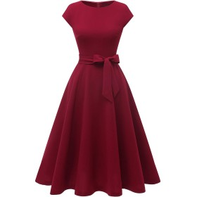 Dresstell(ドレステル) ワンピース レディース 夏 ロングワンピース レトロ ミモレ丈 袖 フレア 結婚式ドレス フォーマル お呼ばれ 二次会 ワインレッド XLサイズ