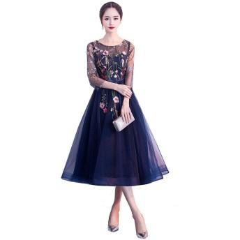 格安高級半袖刺繡花柄ネイビーブラックシースルー チュールミディアムドレス披露宴お呼ばれ結婚式パーティードレスXS S M L XL XXL XXXL (XL, ネイビー)