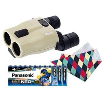 Vixen/ビクセン ATERA H12×30 アテラ 防振双眼鏡(ベージュ)+乾電池エボルタネオ単4形12本パックセット