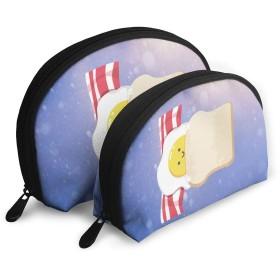 パンと卵 収納袋 メイクポーチ シンプルな 小さな道具袋 ミニ 財布モ モバイルアクセサリー 収納袋 大容量 多機能 トラベルバッグ