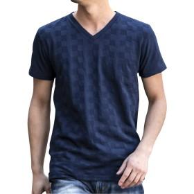 (エーエスエム) A.S.M メンズ ブロック ジャガード Vネック Tシャツ 02-66-9754 48(M) ネイビー