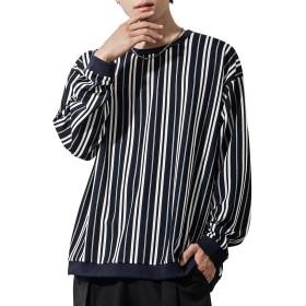マイノリティ(minority) ランダムストライプロンT メンズ ビッグサイズ Tシャツ カットソー 韓国 M ネイビー