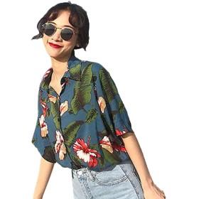 [エージョン] アロハシャツ プリント レディース 半袖 ゆったり レトロ ゆったり 薄い 軽い エレガント ファッション グリーン