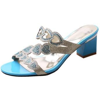 [KemeKiss] 靴 女子 ミュール キラキラ フラワー 日常 サンダル ぺたんこ 履きやすい 34AS Blue