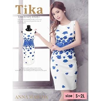 ティカ フラワープリントタイトミニドレス Sサイズ ブルー
