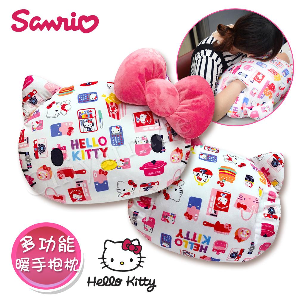 【Hello Kitty】凱蒂貓 彩色繽紛蝴蝶結 大抱枕 暖手枕 午安枕 腰靠枕 沙發枕 汽車枕50x36cm(正版授權)