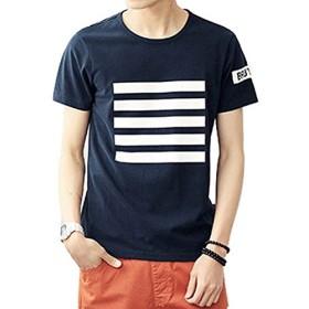 Spinas(スピナス)メンズ Tシャツ 半袖 クルーネック シンプル 無地 ライン デザイン 春 夏 全2色 ( ネイビー ホワイト)