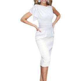(ビグッド)Bigood エレガント レディース 無地 ワンピース タイトドレス パーティー ドレス 二次会 結婚式 お呼ばれ デート(ホワイト・M)