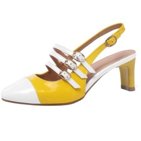 [Lydee] レディース シューズ ファッション スリングバック パンプス ミッドヒール スリップオン パーティー ヒール パフォーマンス 靴 Yellow Size 34