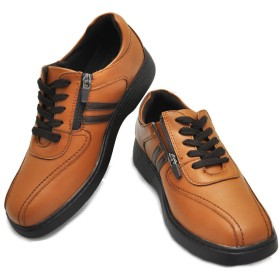 EURO GOLF ウォーキングシューズ/紐靴/ファスナー付/軽量/No98681 キャメル 24.5cm