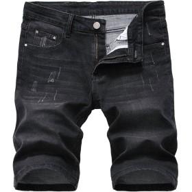 (モダンミス)Mordenmiss ハーフパンツ デニムショーツ ショートパンツ メンズ 短パン チノパン ジーンズ ショーツ 半パン カジュアル デニム ファション ブラック1006 34
