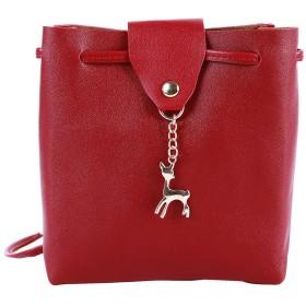 Sevenfly 鹿ペンダントショルダーバッグPUレザー女性メッセンジャーバッグ携帯電話のキーバッグ、赤ワイン