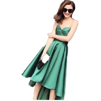 緑タフタイブニングドレス スウィートハットネック 露背係パーティードレス ワンピース 発表会演奏会のドレス カクテルドレス (緑, 16)