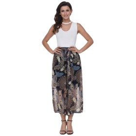 Women's Loose Flowy Wide-Leg Pants High Waisted Bohemian Cropped Trousers Casual Chiffon Culottes with Waist Belt (11)