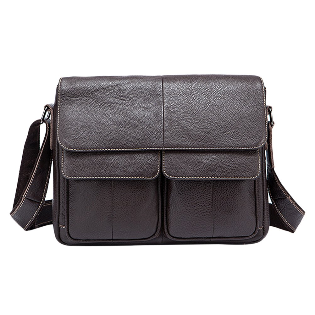 Zhuhaitf Mens First Layer Cowhide Shoulder Bag Messenger Briefcase Backpack