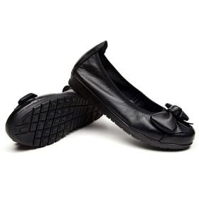 [サニーサニー] レディース パンプス フォーマル 歩きやすい ローヒール リボン バレエシューズ 蝶結び フラット 結婚式 柔らかい 疲れない 痛くない 軽い ぺタンコ 春 クッション性 夏 防滑 安定感 ナースシューズ 婦人靴 黒い