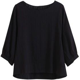 Aeneontrue レディース シャツ 綿麻 7分袖 無地 ストライプ クルーネック パフスリーブ 大きいサイズ ゆったり かわいい ブラウス Tシャツ 黒 3L