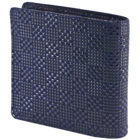 INDEN-YA 印傳屋 印伝 財布 二つ折り財布 メンズ 男性用 紺×黒 変わり市松小 2008-04-167