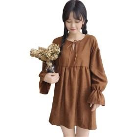 SHENGAO レディース ファッション ロング スカート 春夏 秋 カジュアル 素晴らしい 純色 ワンピース 長袖 ひざ丈 きれいめ