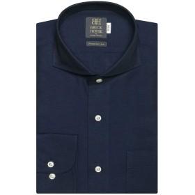 ブリックハウス ワイシャツ 長袖 形態安定 ホリゾンタル ワイド 麻混 標準体 BM019200AC12Z6A-19 ブルー L-82