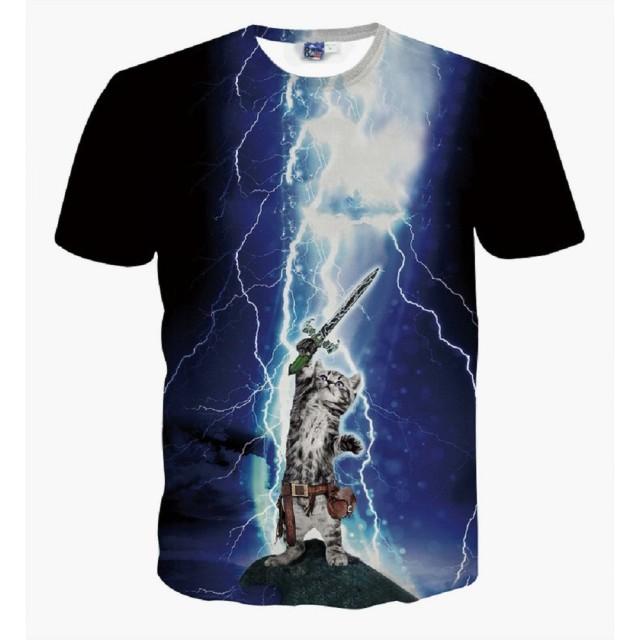 (オリログ)ALLYLOG スペースキャット 半袖 Tシャツ プリント おもしろTシャツ カジュアル カットソー デザイン メンズ (XXL(日本XLサイズ相当), キャット7)