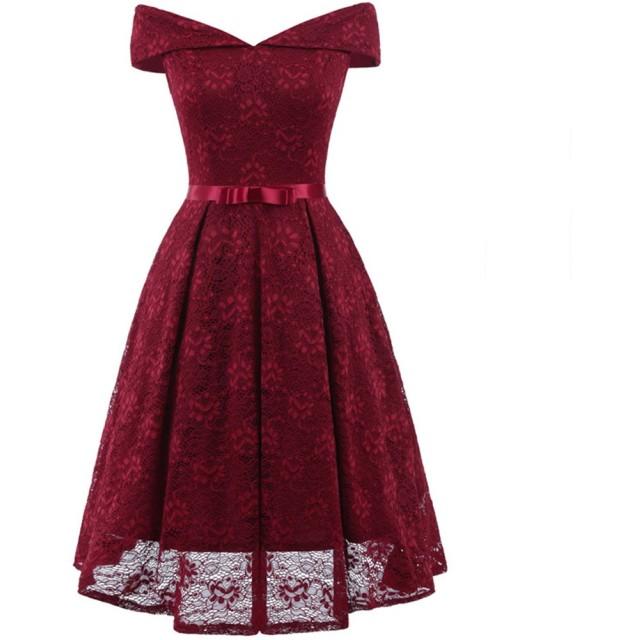 SIJIYIREN レディース ドレス フォーマル ワンピース チュニック パーティー (ワイン, XL)