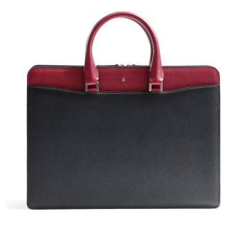 [フジタカ] レザービジネスバッグ A4 ディアマン No.621502 クロxアカ