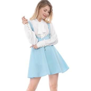Allegra K サスペンダースカート ジャンパースカート フレア Aライン フロントボタン レディース ブルー XL