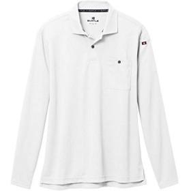 BURTLE バートル 665 長袖ポロシャツ ドライメッシュ 鹿の子 吸汗速乾加工 男女兼用 (S, ホワイト)