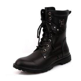 [ジョイジョイ] エンジニアブーツ メンズ 防水 レインブーツ カジュアル ブラック 長靴 軽量 ミリタリー ミドルカット バイク 多機能 ベルト 編み上げ お兄系 舞台 コスプレ 滑り止め 黒 革 紳士靴