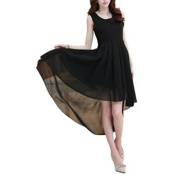 [ルナー ベリー] ドレス ワンピース シフォン フィッシュテール ノースリーブ レディース 1412 (XXL, ブラック) カラーフォーマル パーティー 美ライン 大きいサイズ 夏ワンピ1412 (XXL, ブラック)